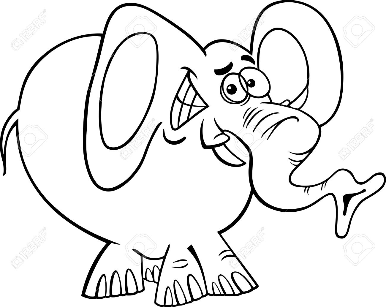 black and white cartoon illustration of funny african elephant