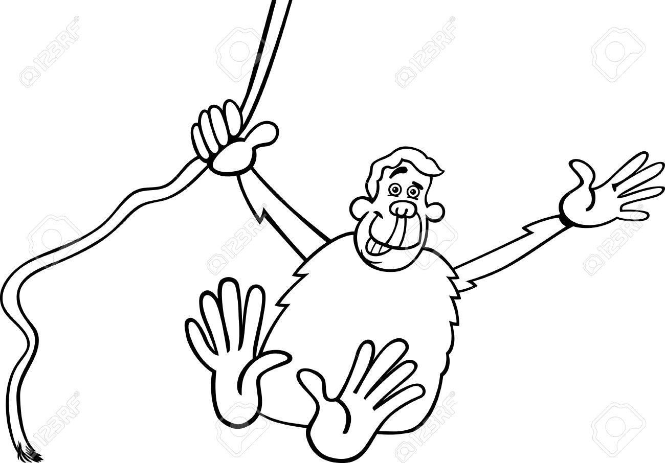 black and white cartoon illustration of funny chimpanzee ape