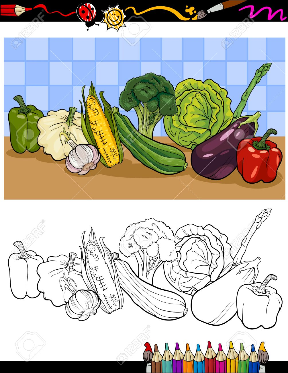 coloring book or page cartoon illustration of vegetables food
