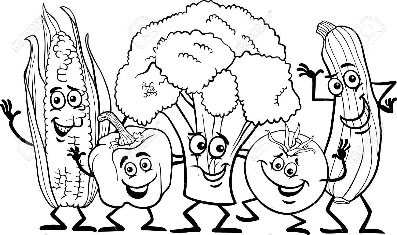 Black And White Cartoon Illustration Of Happy Vegetables Food