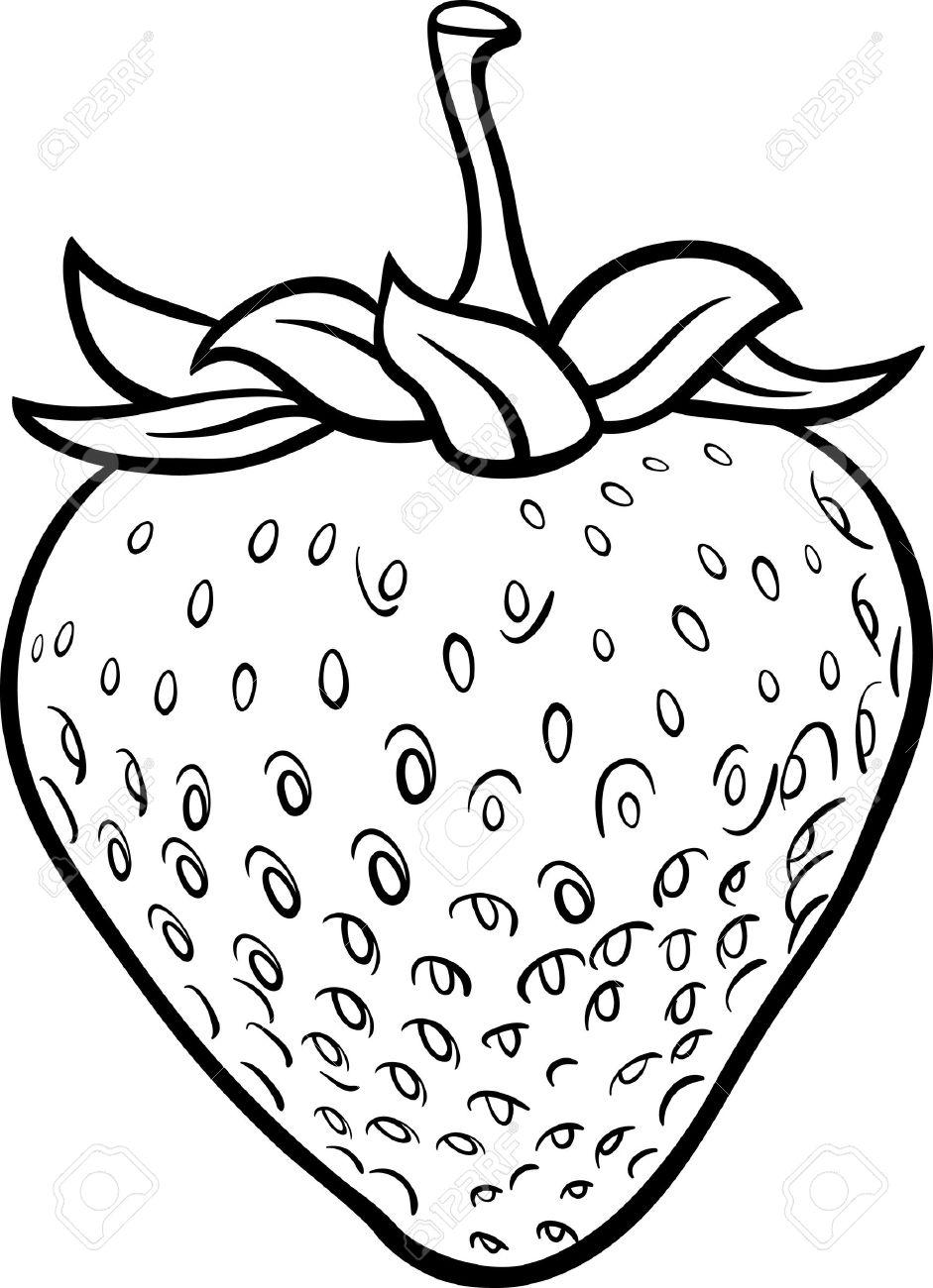 black and white cartoon illustration of strawberry fruit food