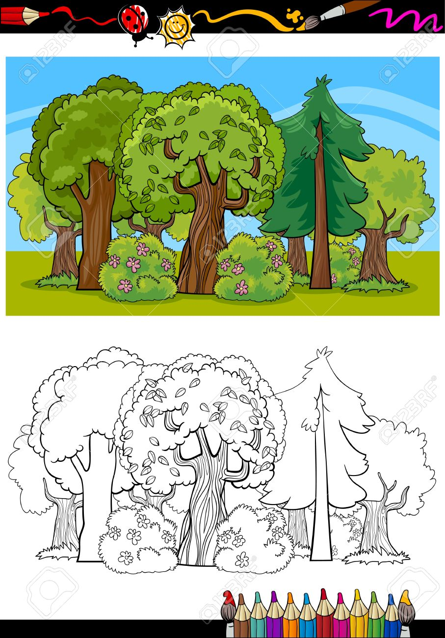 Coloring Book Or Page Cartoon Illustration Of Trees And Bushes ...