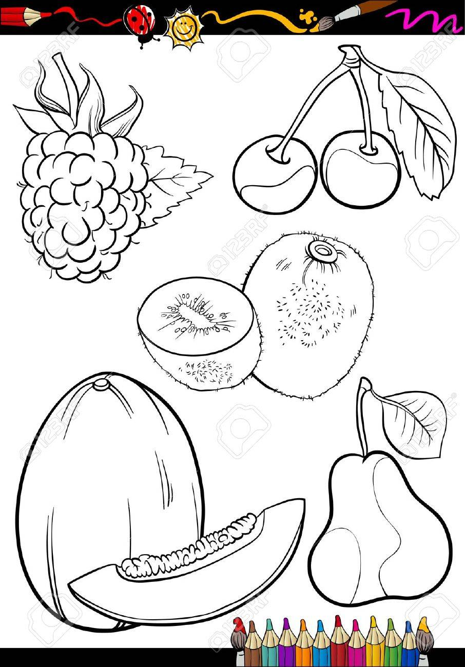 coloring book or page cartoon illustration of different black