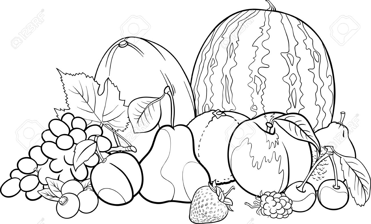 black and white cartoon illustration of fruits group food design