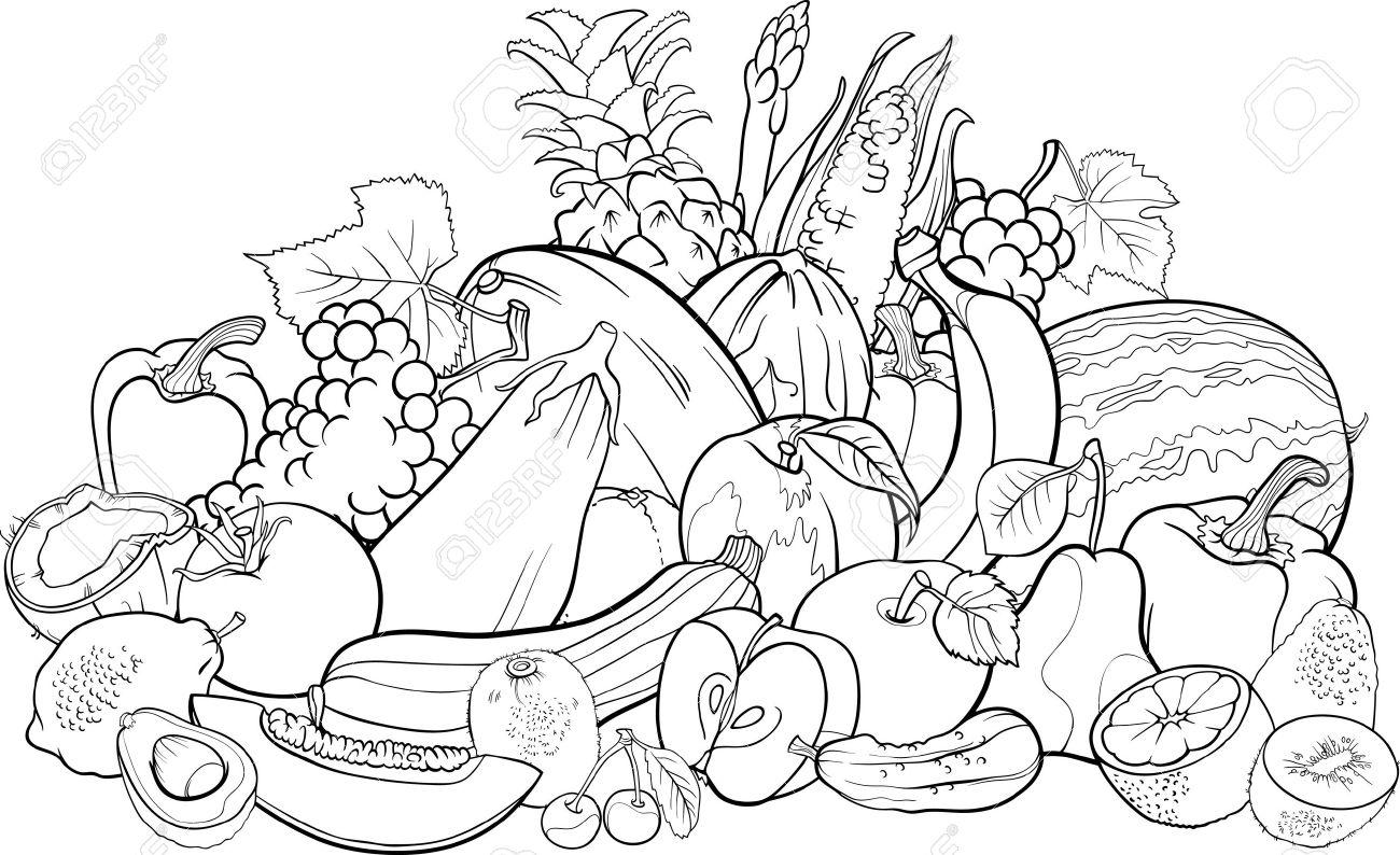 Blanco Y Negro Ilustracion De Dibujos Animados De Frutas Y