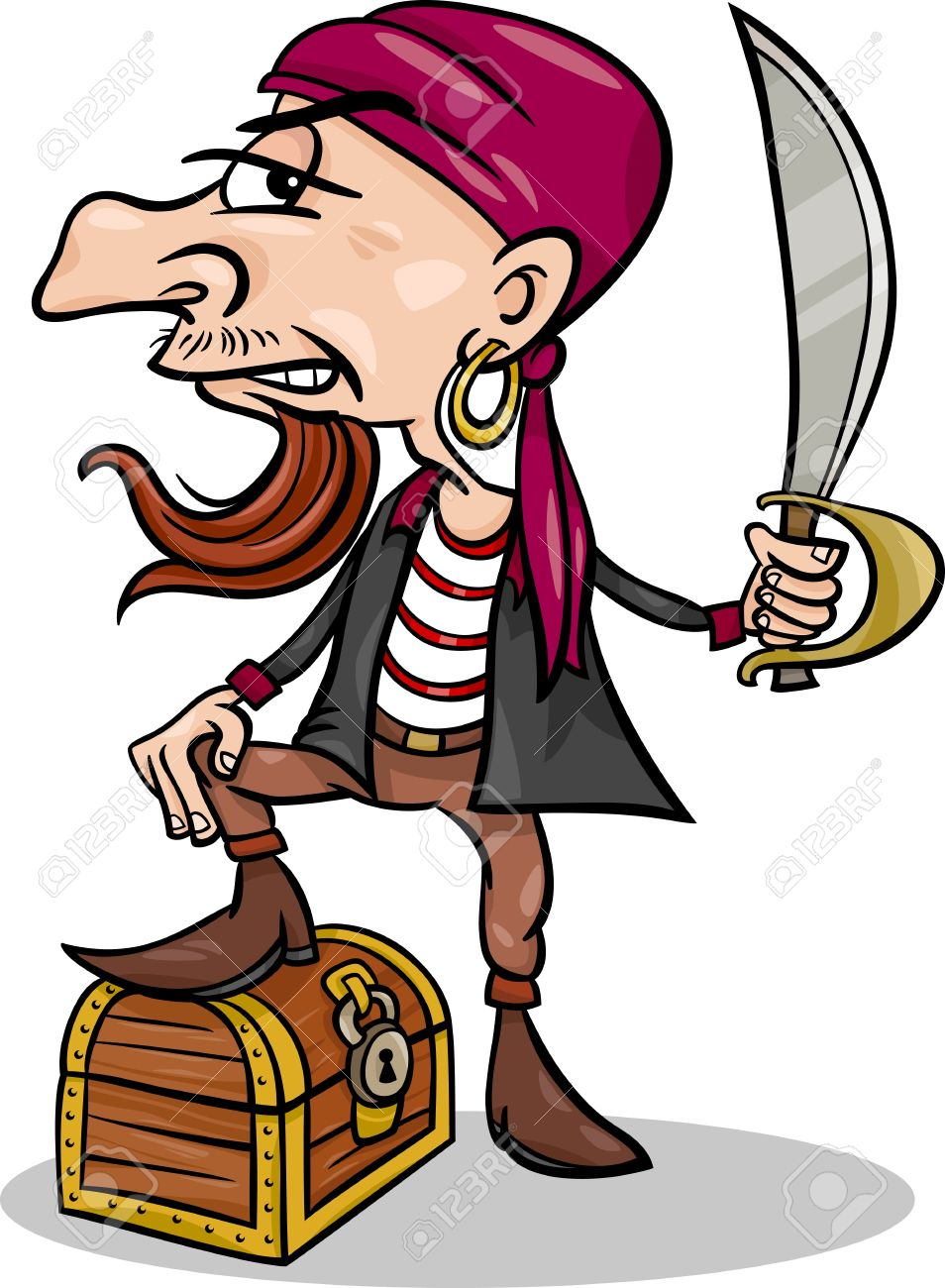 Cartoon Illustration of Funny Pirate or Corsair with Sword and Treasure Chest Stock Vector - 20333469