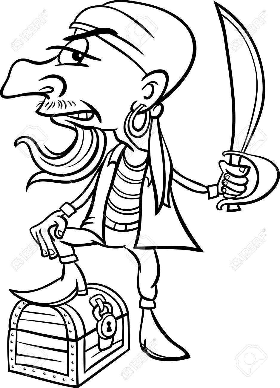Blanco Y Negro De Dibujos Animados De Ilustración De Divertido ...