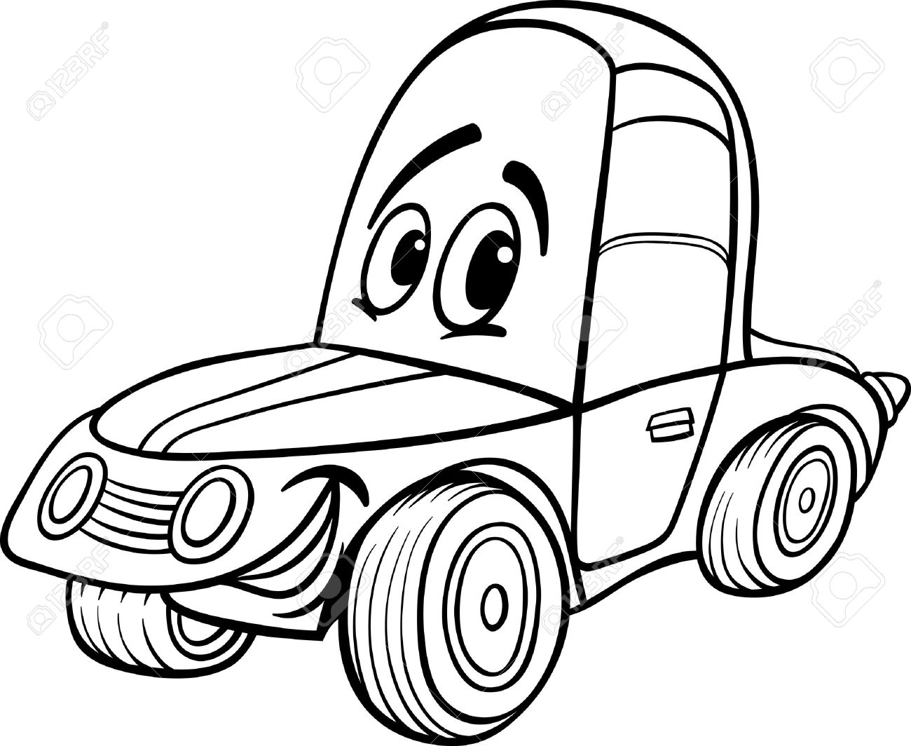 Black And White Cartoon Illustration Of Funny Racing Car Vehicle Comic Mascot Character For Coloring Book