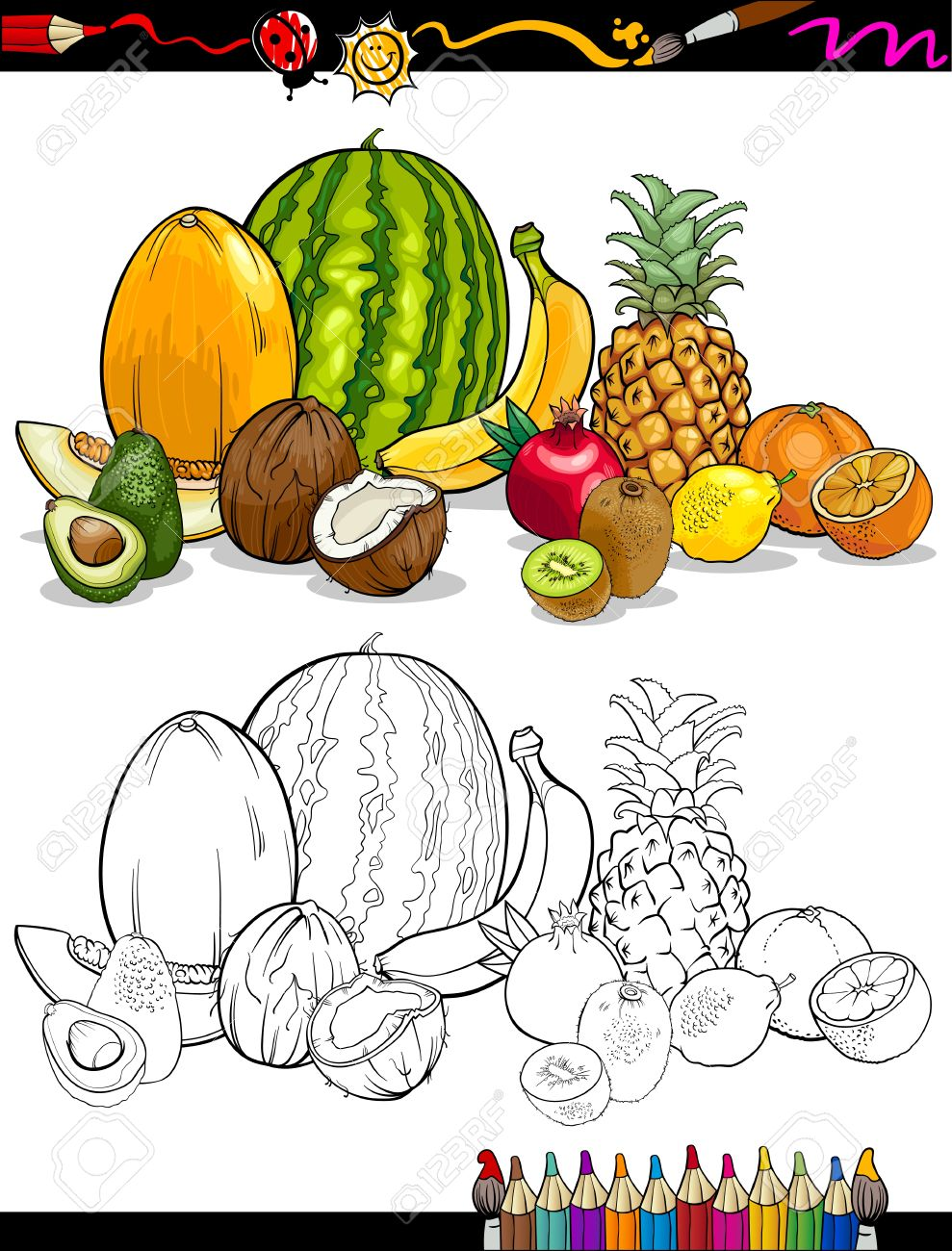 Coloring Book Or Page Cartoon Illustration Of Tropical Fruits Food Group For Children Education Stock Vector