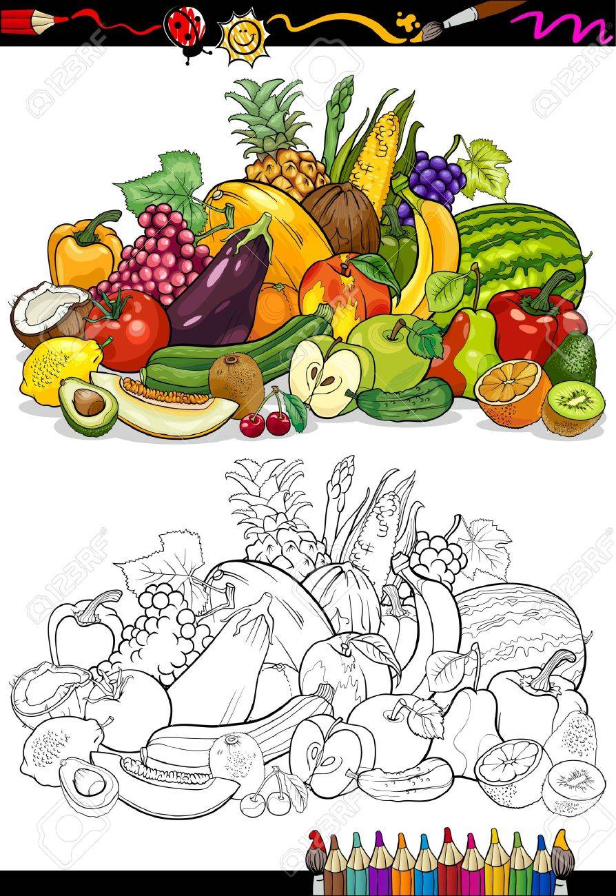 Coloring Book Or Page Cartoon Illustration Of Fruits And Vegetables Big Food Group For Children Education