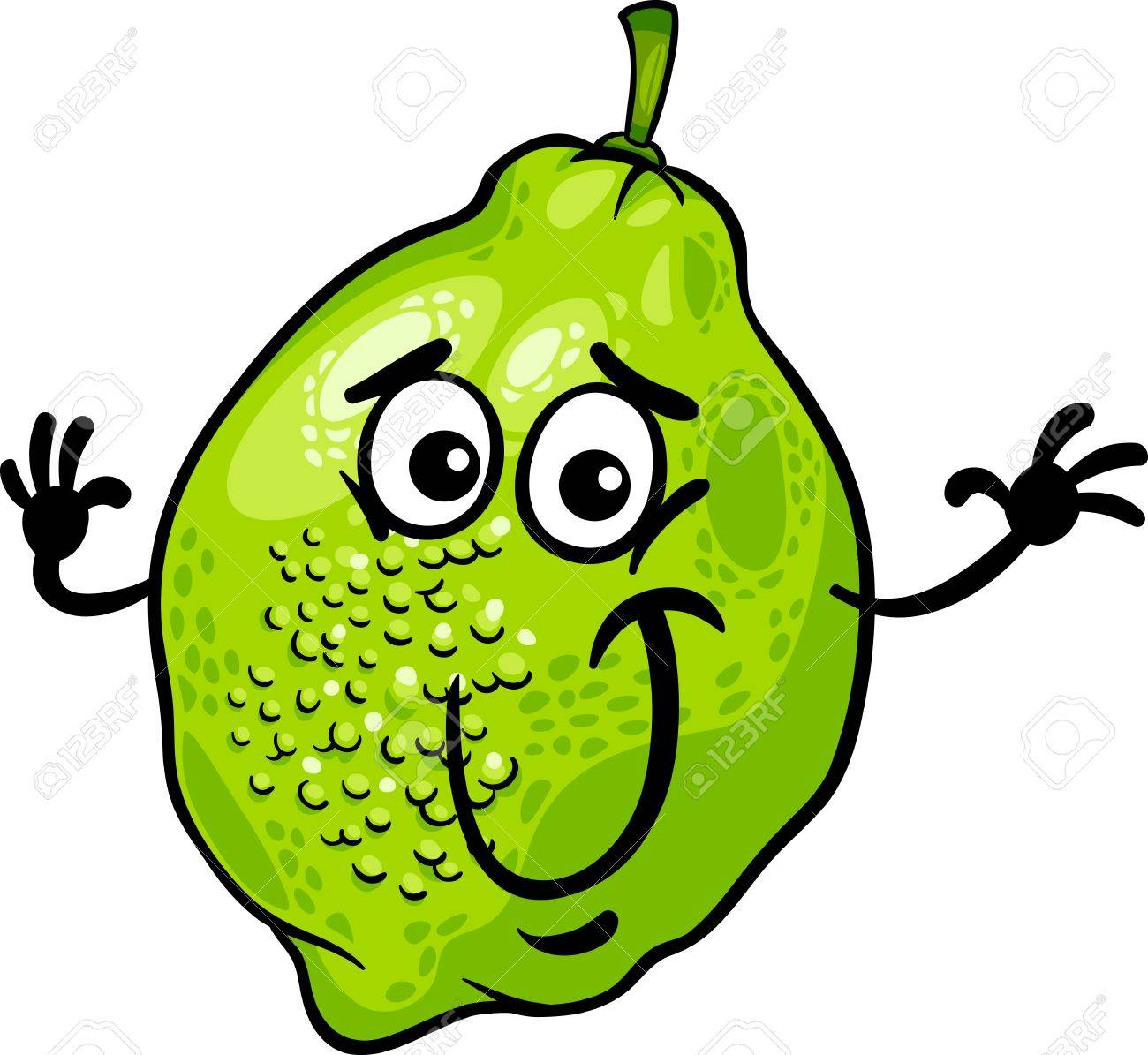 Cartoon Illustration Of Funny Lime Citrus Fruit Food Comic ...