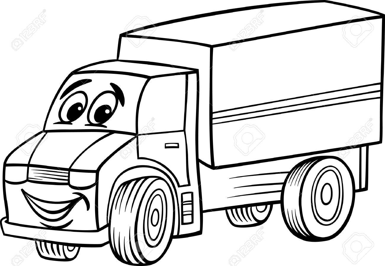 Blanco Y Negro Ilustración De Dibujos Animados De Camiones Funny Or ...