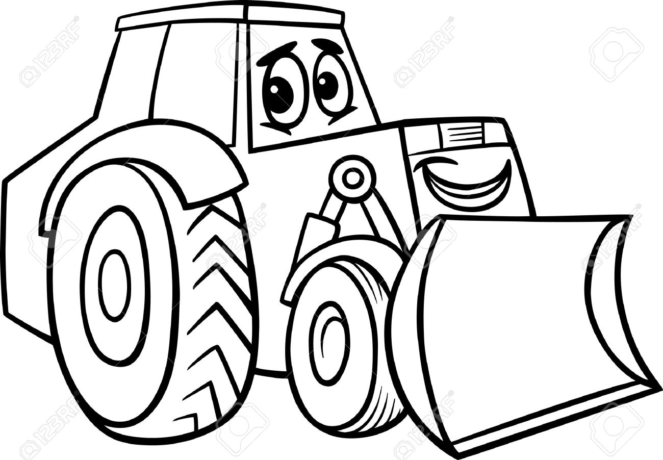 Black And White Cartoon Illustration Of Funny Bulldozer Machine Comic Mascot Character For Children To Coloring