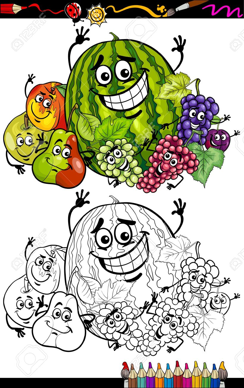 coloring book or page cartoon illustration of funny fruits comic
