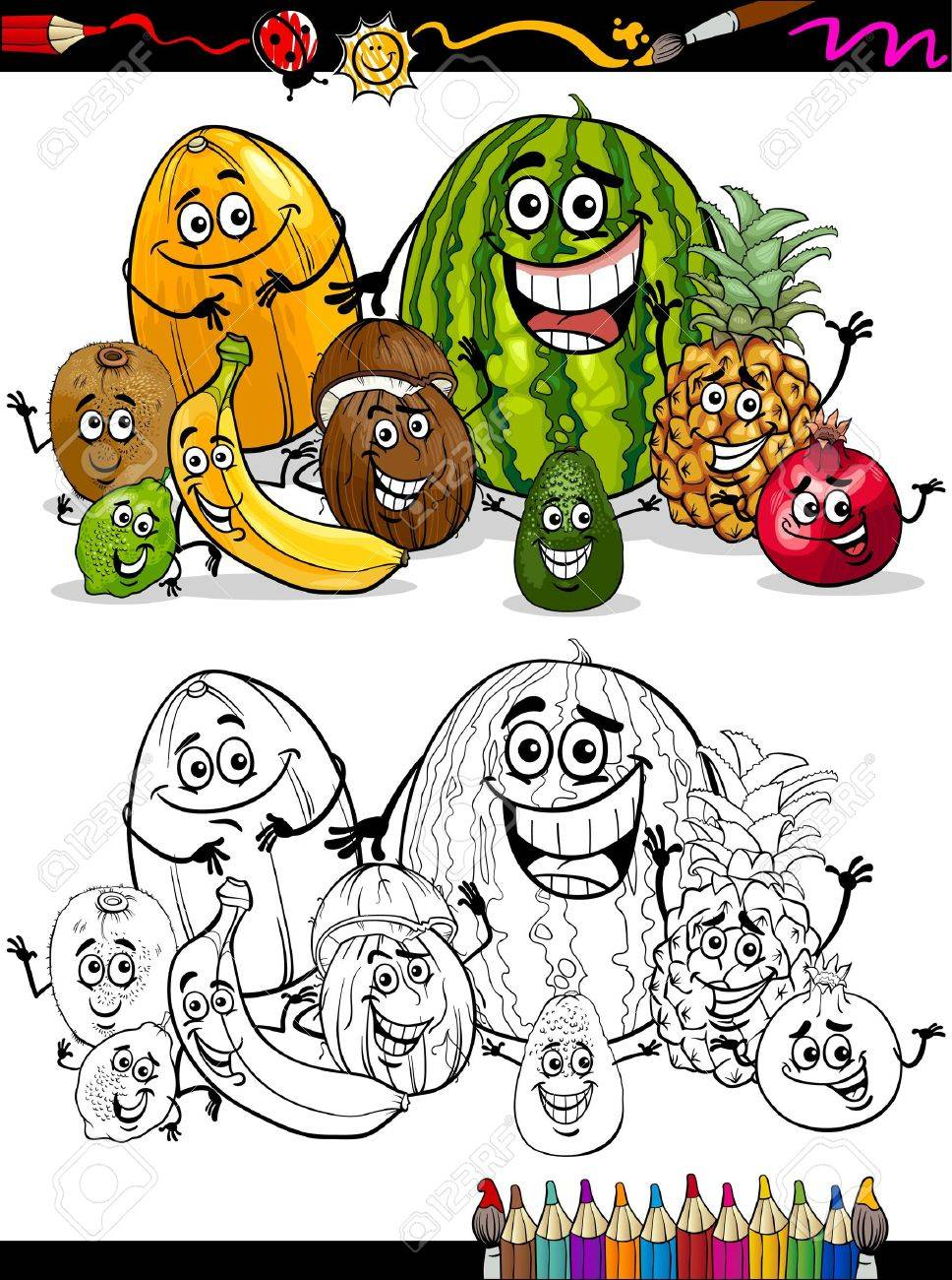 coloring book or page cartoon illustration of funny tropical