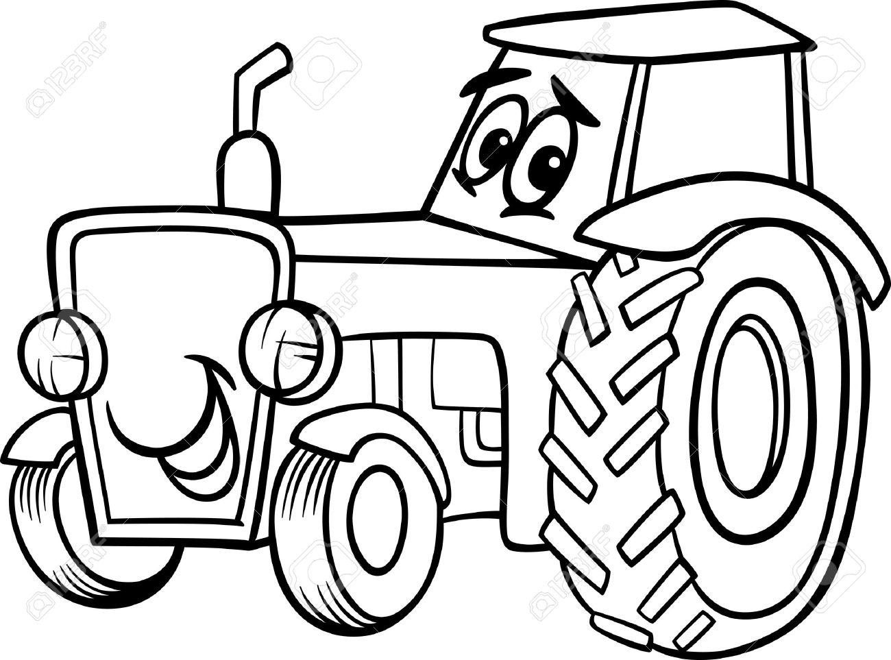 black and white cartoon illustration of funny farm tractor vehicle rh 123rf com  tractor trailer clipart black and white