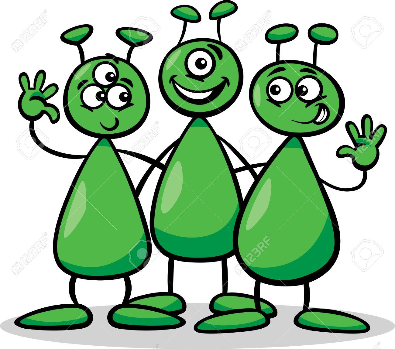 20483538-Illustration-de-bande-dessin-e-de-trois-trangers-dr-les-ou-Martiens-dessin-es-Personnages-Banque-d%27images