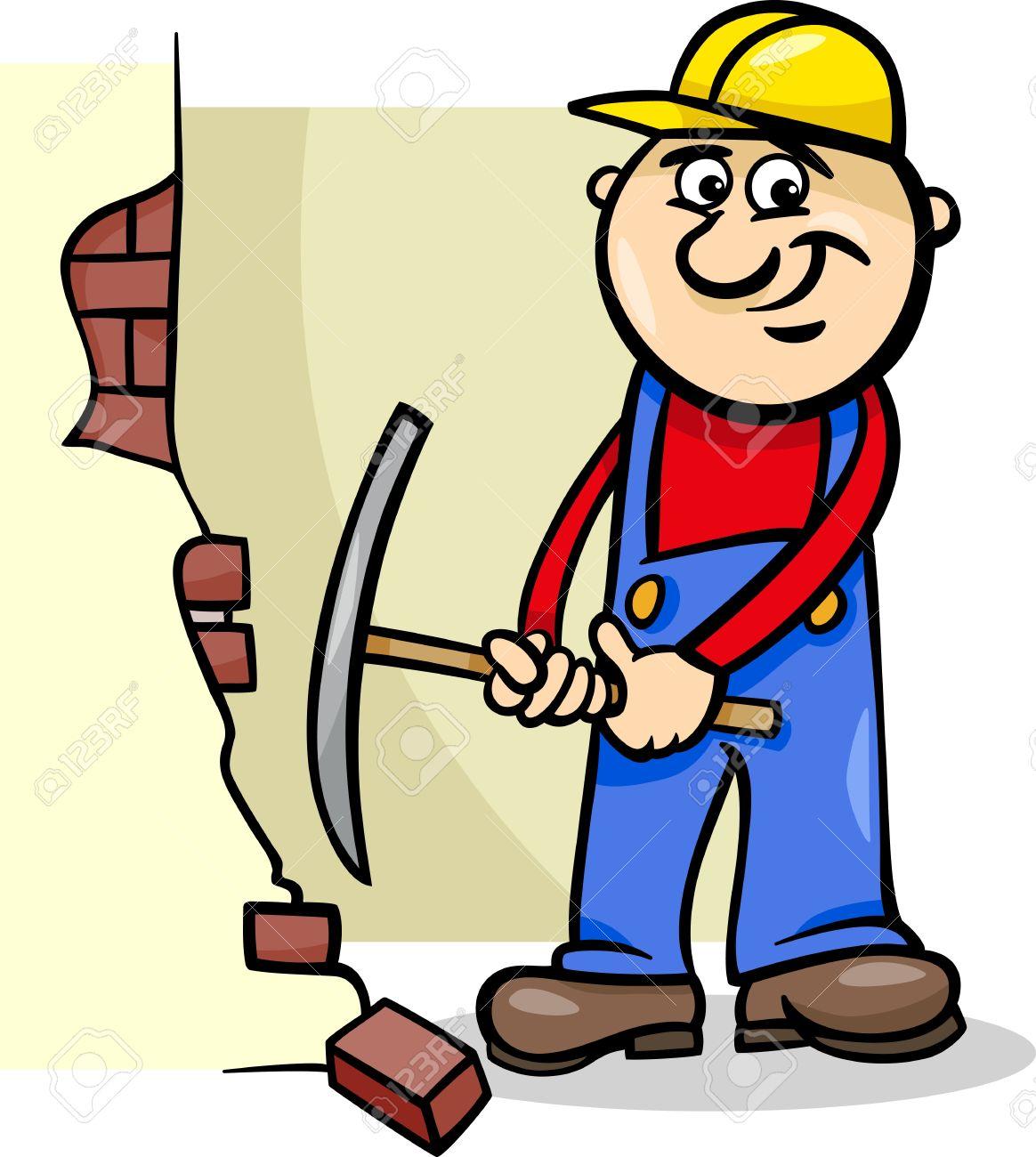 Cartoon Illustration Of Man Worker Or Workman Demolishing Brick ...