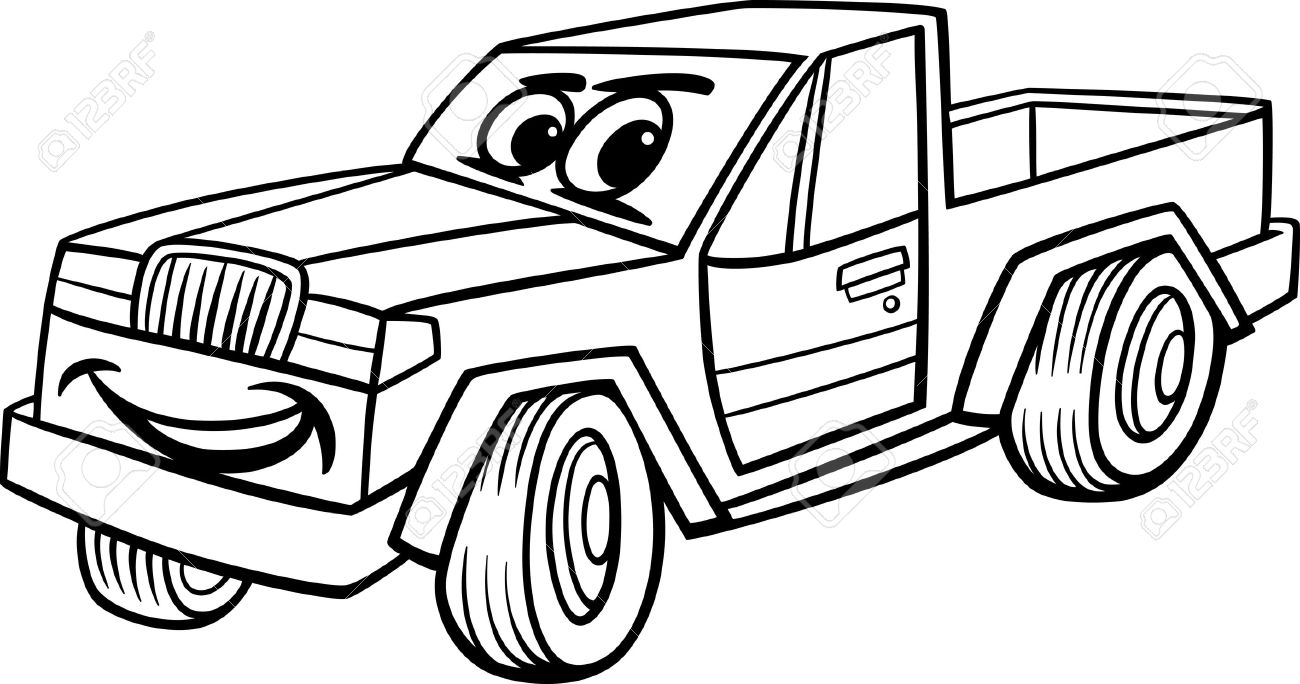 Black And White Cartoon Illustration Of Funny Pick Up Or Pickup Car Vehicle Comic Mascot Character