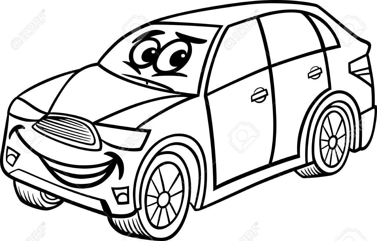 Black And White Cartoon Illustration Of Funny SUV Or Crossover Car Vehicle Comic Mascot Character For