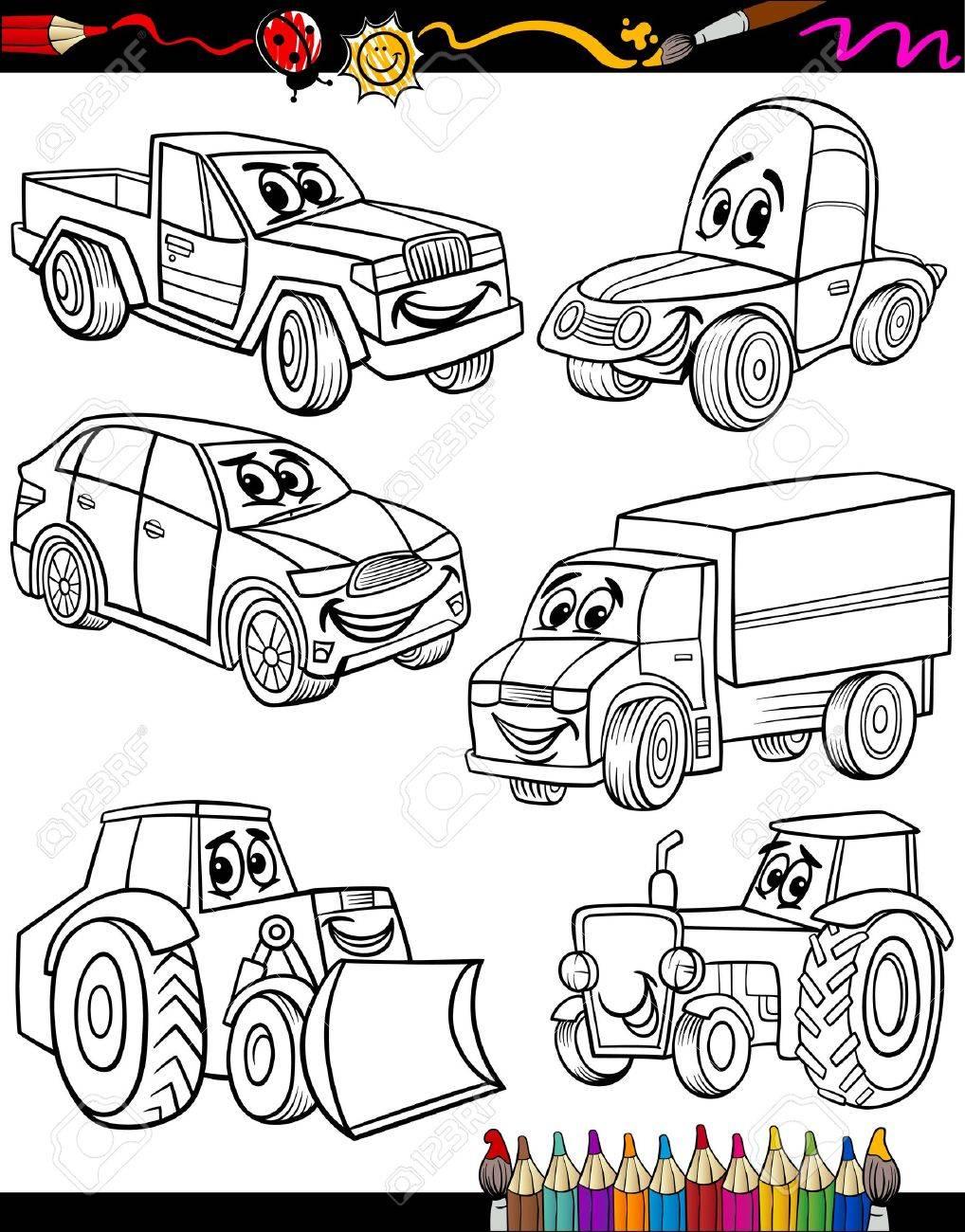 Coloring Book O Página De Dibujos Animados De Coches En Blanco Y ...