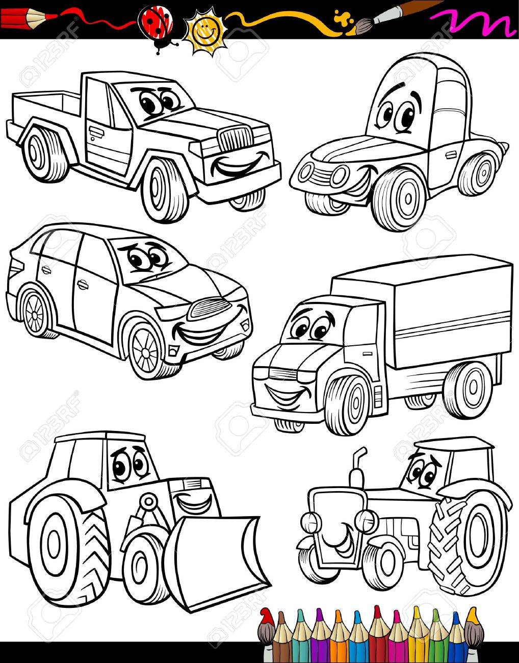 Coloring Book Or Page Cartoon Illustration Of Black And White Cars Trucks Vehicles Machines
