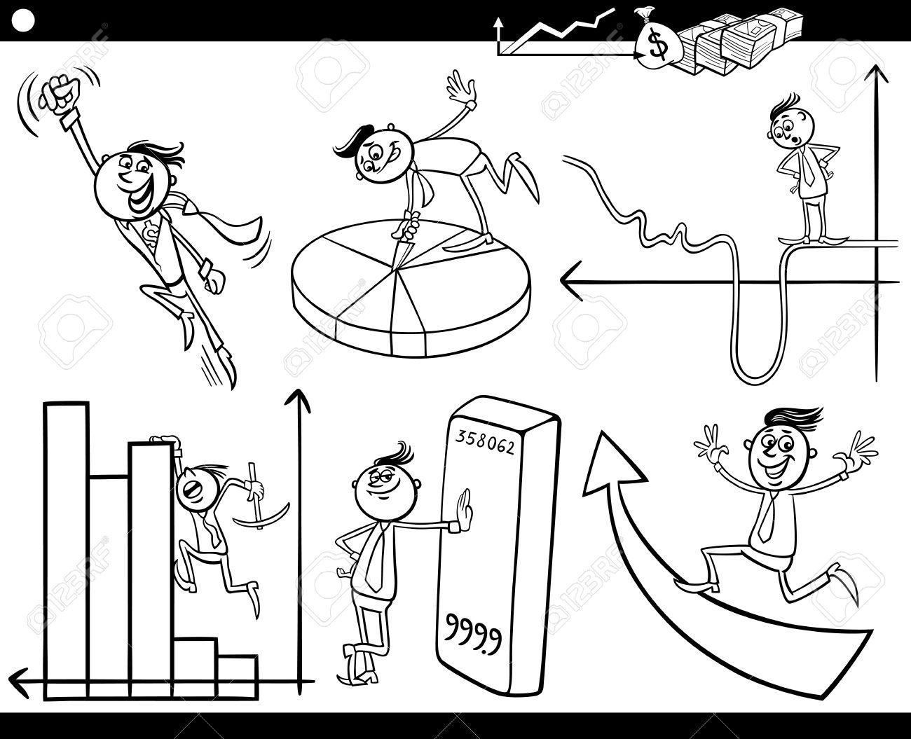 Blanco Y Negro Concepto Cartoon Ilustración Conjunto De Los Hombres ...