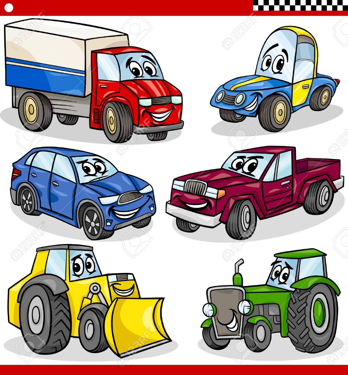 Ilustración De Dibujos Animados De Coches Y Camionetas De Vehículos Y Máquinas Personajes Comic Set Para Niños