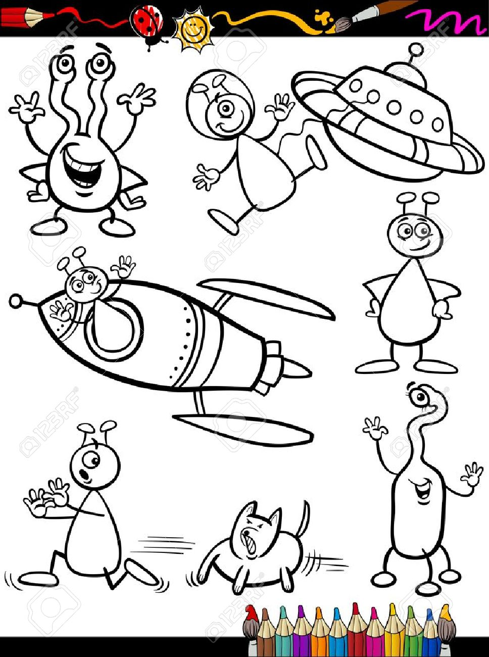 coloring book or page cartoon illustration set of black and white