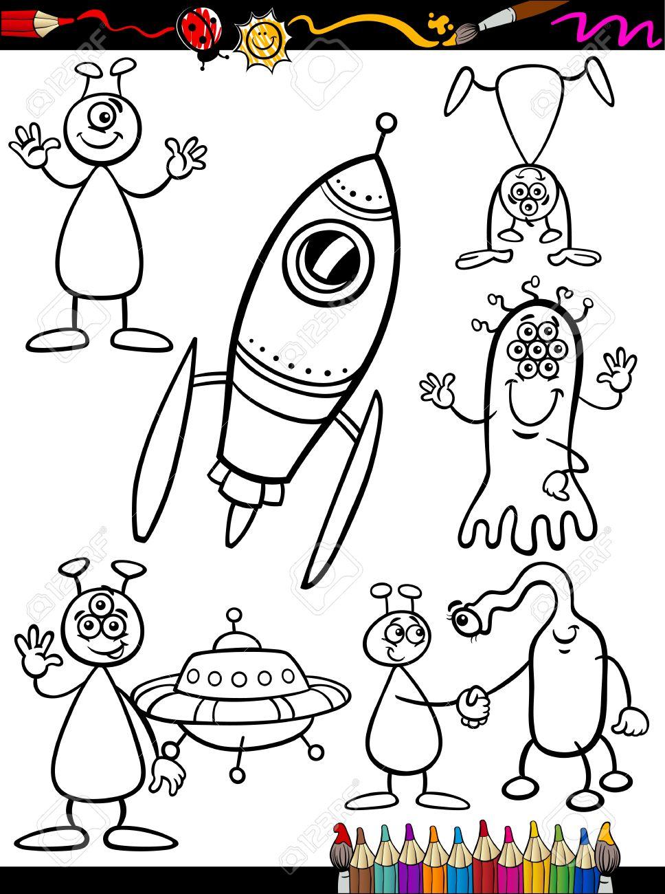 Coloring Book O Página Cartoon Ilustración Conjunto De Extranjería ...