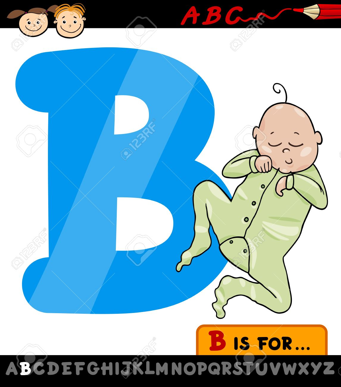 Cartoon Illustration of Capital Letter B from Alphabet with Baby for Children Education Stock Vector - 21295537