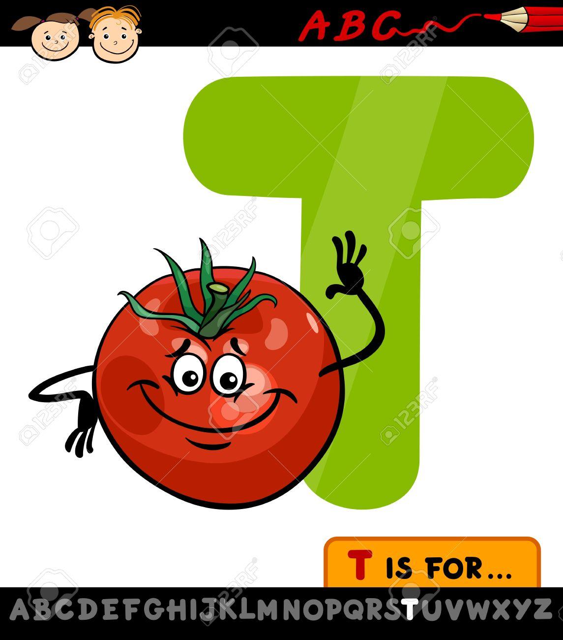 Ilustración De Dibujos Animados De La Letra T Del Alfabeto Con