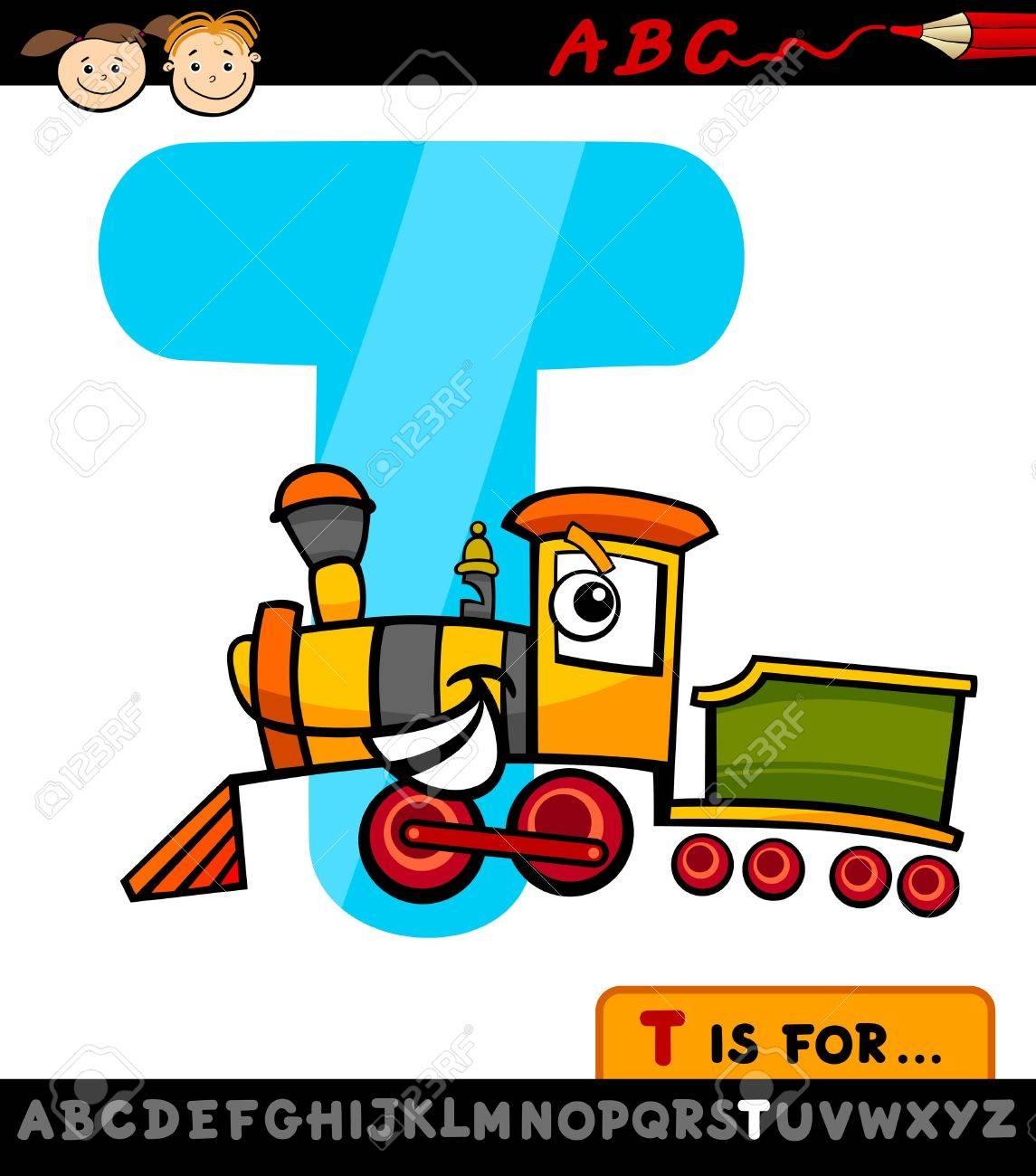 Ilustración De Dibujos Animados De La Letra T Del Alfabeto Con El Tren De Educación Infantil