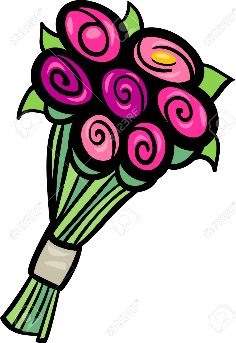 Cartoon Illustration Of Flowers Bunch Or Bouquet Clip Art Royalty ...