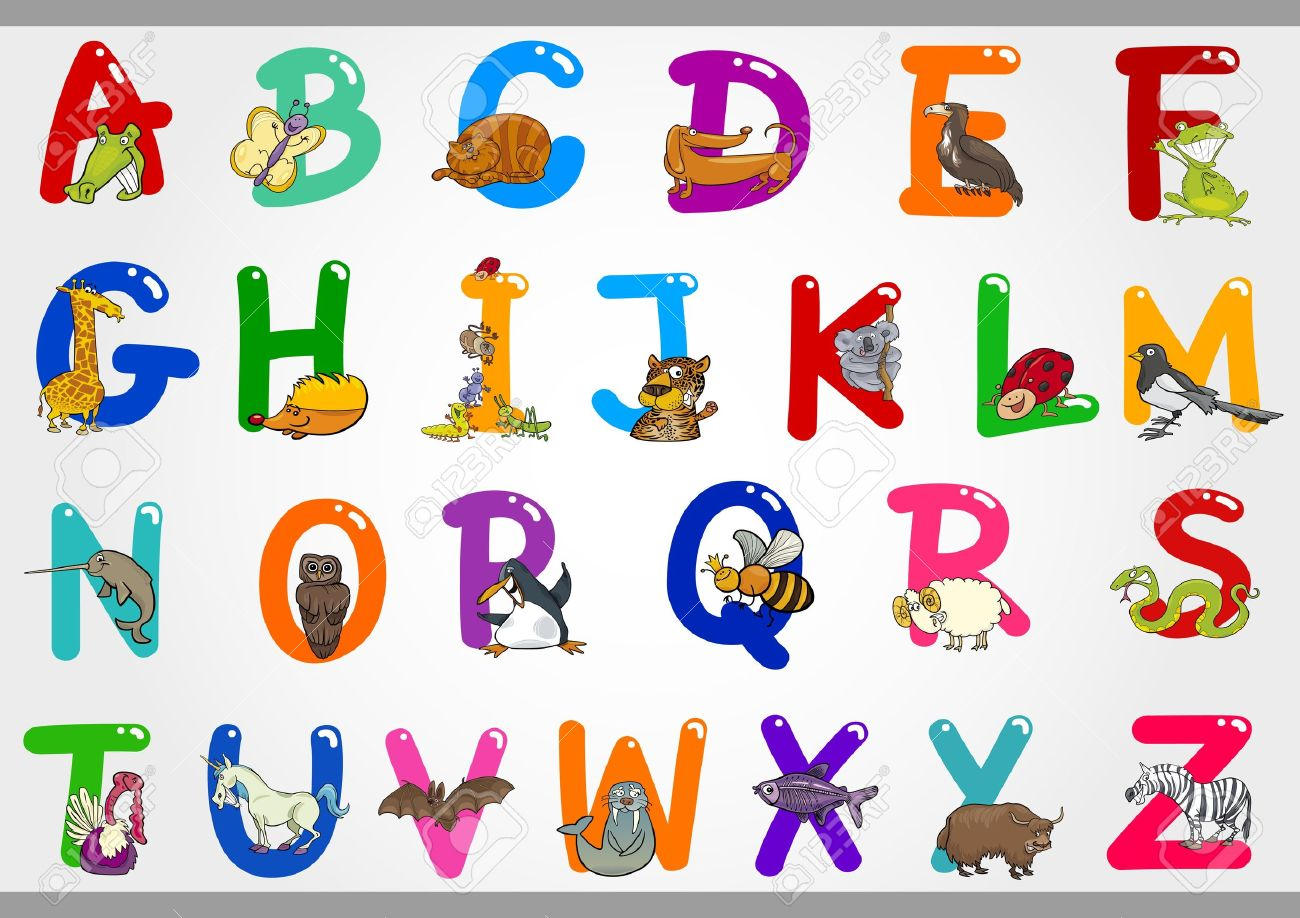 cartoon illustration of colorful alphabet letters set from a to z with funny animals stock vector