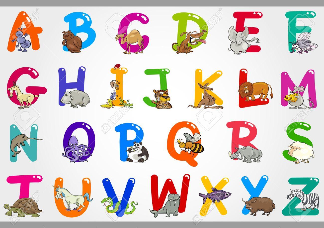 変な動物と z a からカラフルなアルファベット文字セットの漫画