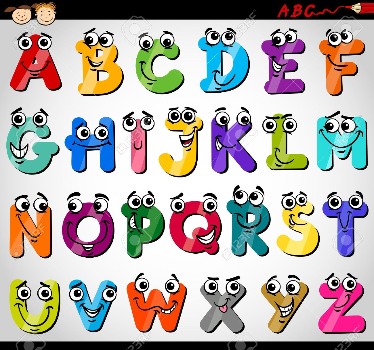 Cartoon Illustration Funny Capital Letters Alphabet For