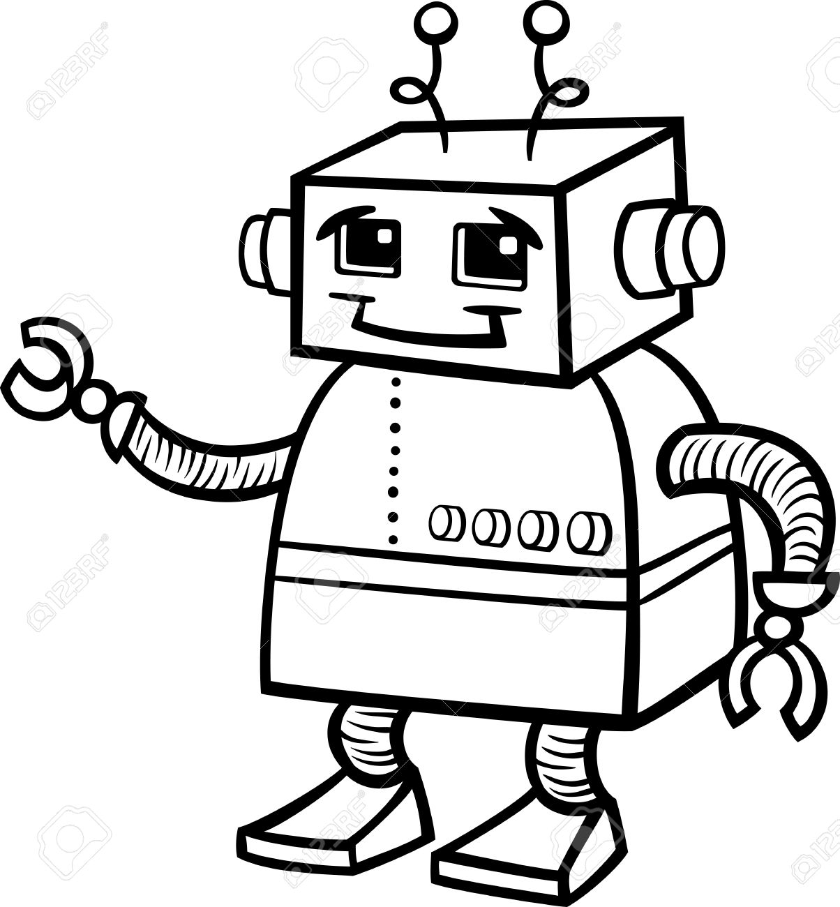 black and white cartoon of cute robot or droid for children to