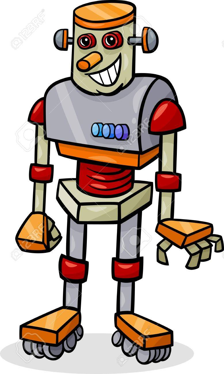 Cartoon Illustration of Cheerful Robot Stock Vector - 21822712