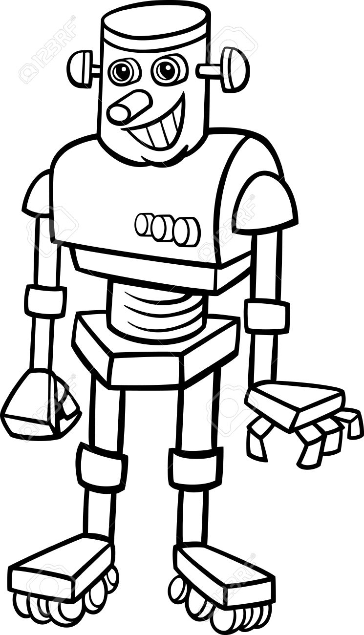 Black And White Cartoon Illustration Of Cheerful Robot For Children To Coloring Book Stock Vector