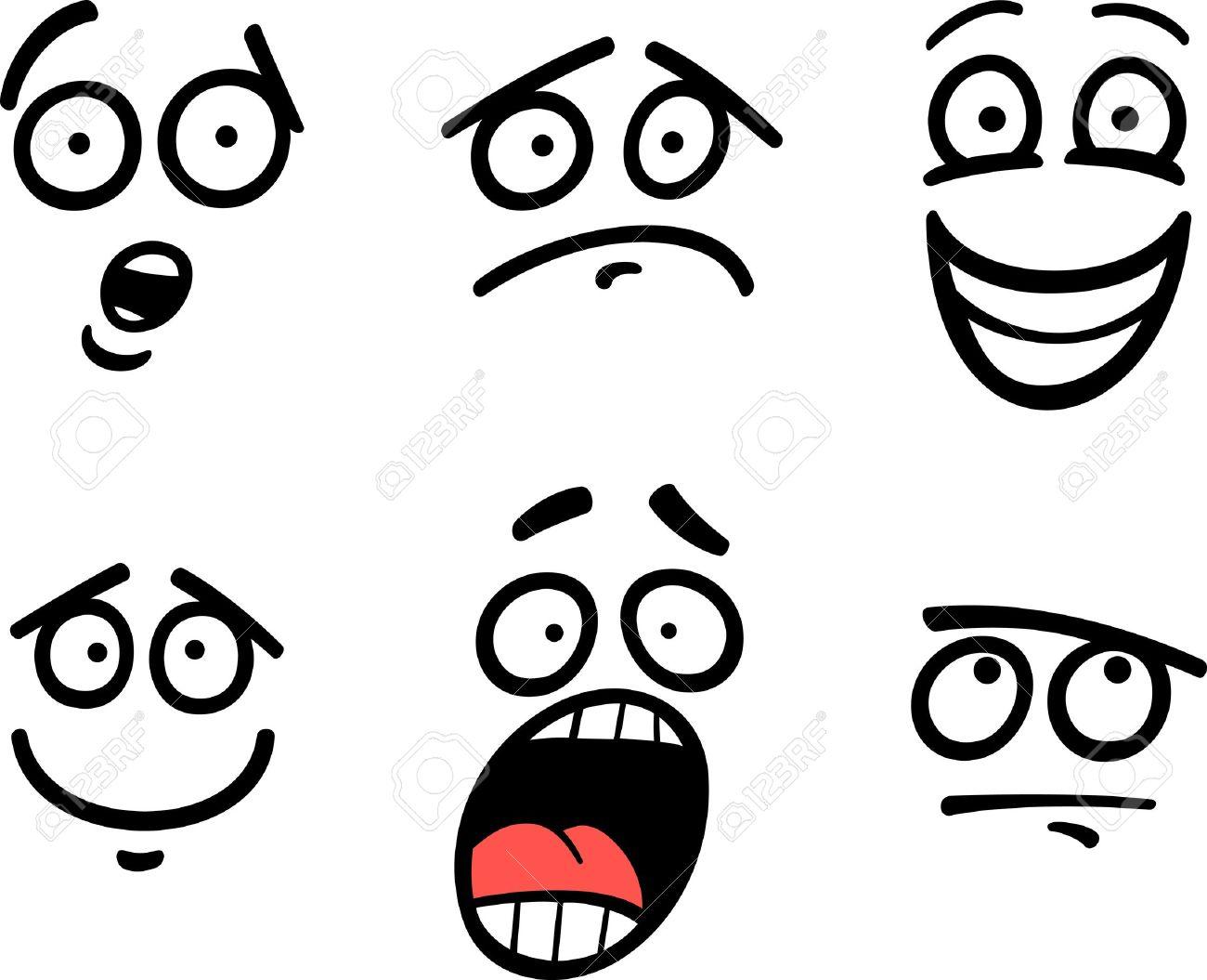 Ilustración De Dibujos Animados De Emoticon O Emociones Y Expresiones Divertidas Como Triste Feliz Miedo O Skeptic