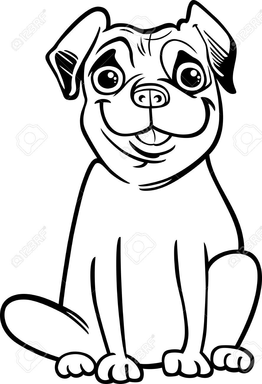 Dorable Cachorro Pug Para Colorear Regalo - Enmarcado Para Colorear ...