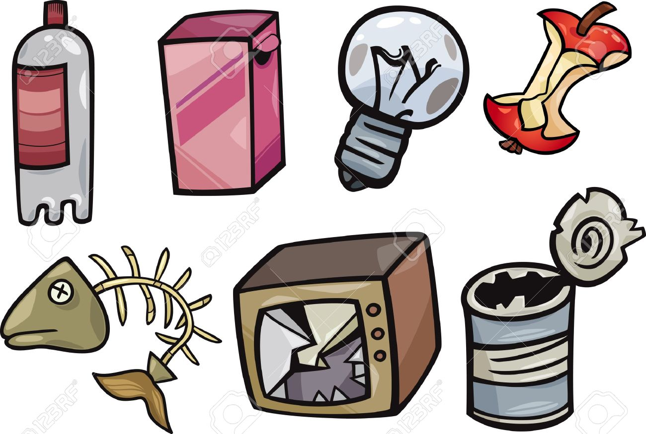 cartoon illustration of garbage or junk objects clip art set royalty rh 123rf com royalty free clip art images free royalty free clip art images free