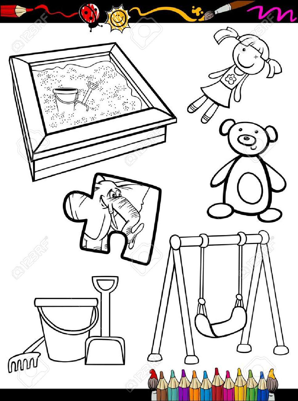 Coloring Book O Página De Dibujos Animados De Blanco Y Negro ...