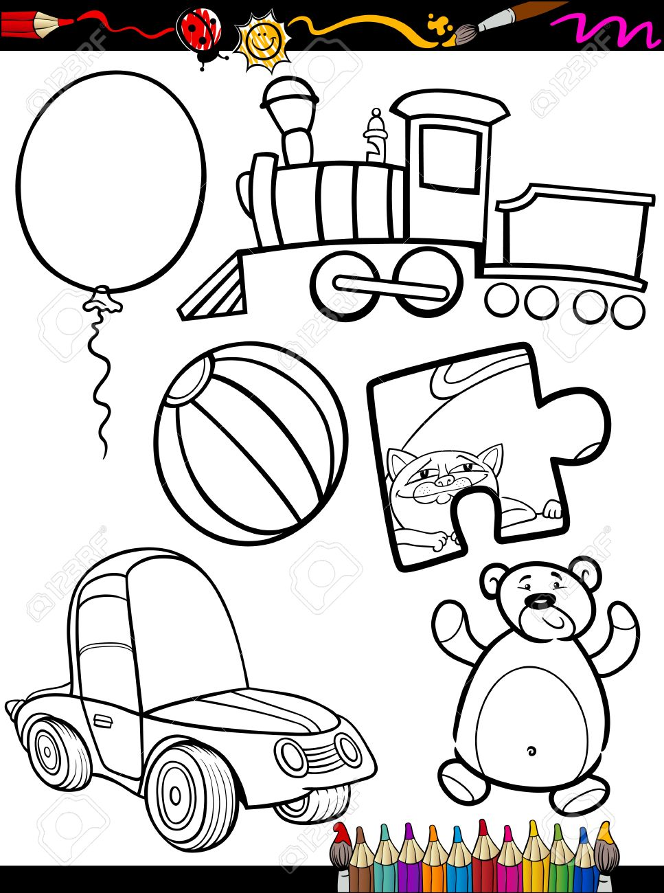 Coloring Book Or Page Cartoon Illustration Of Black And White Toys Objects Set For Children Education