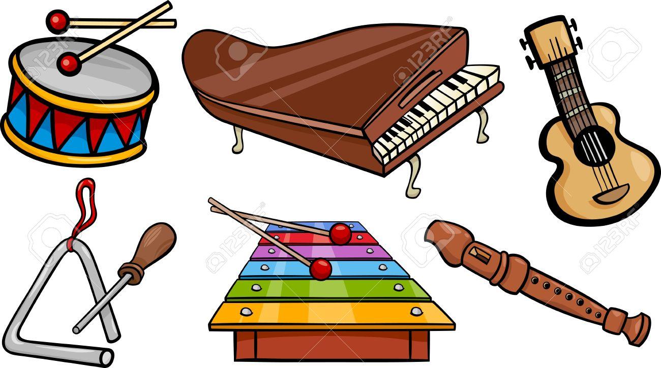 fumetto illustrazione di strumenti musicali oggetti clipart set  - fumetto illustrazione di strumenti musicali oggetti clipart set archiviofotografico