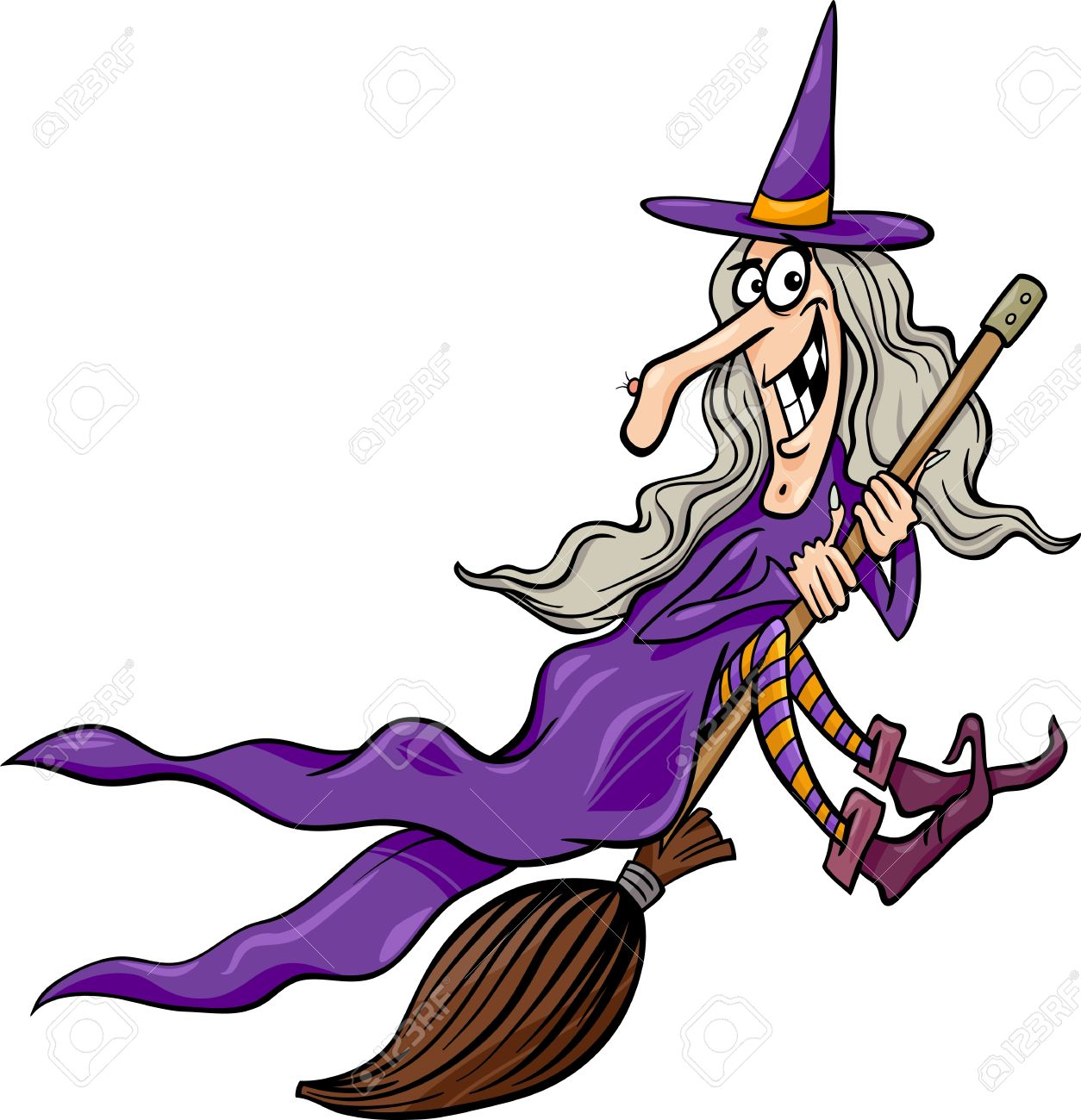 cartoon illustration of funny fantasy or halloween witch flying on broom stock vector 22141327 - Flying Halloween Witch