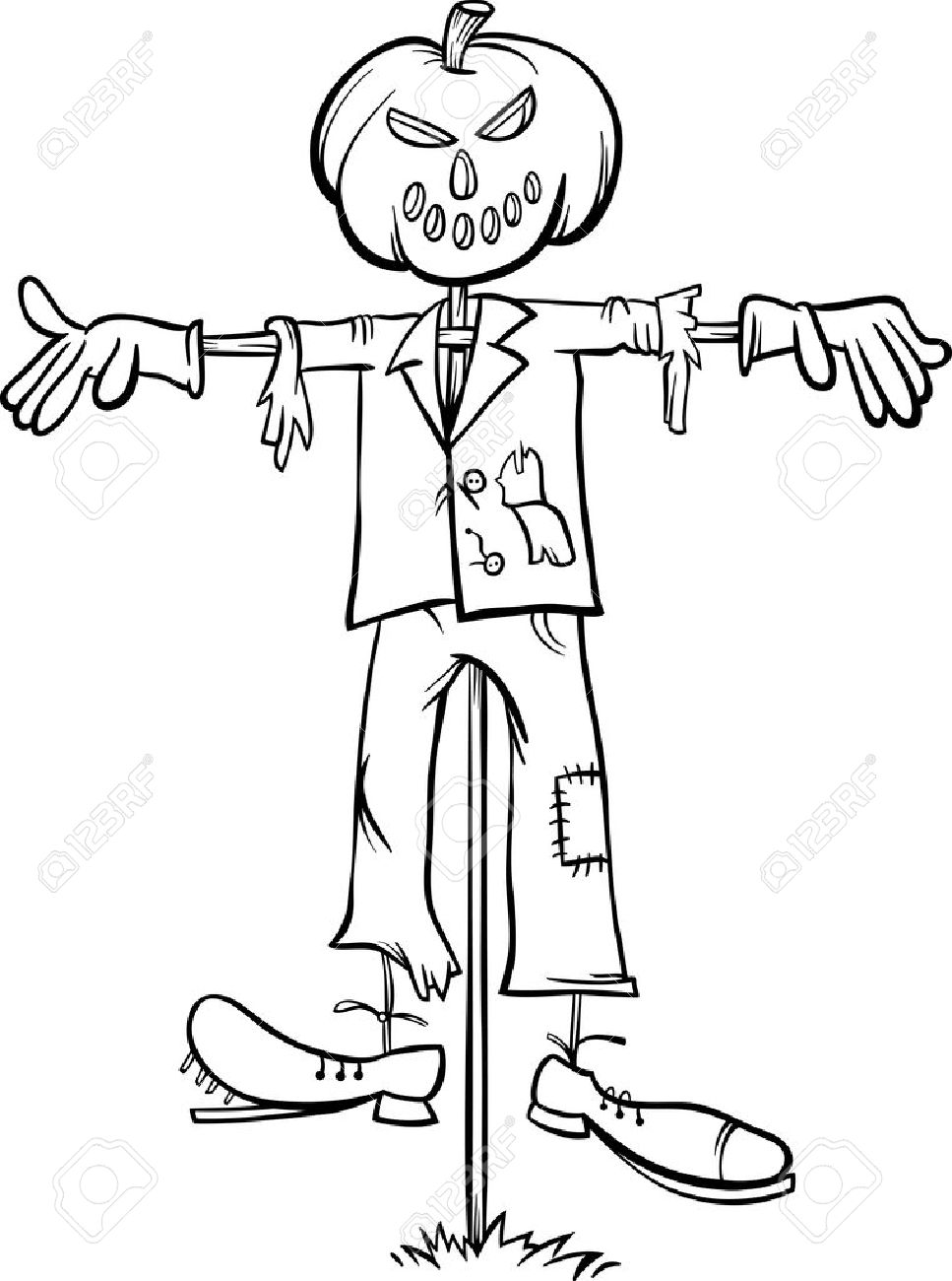 black and white cartoon illustration of scary halloween scarecrow