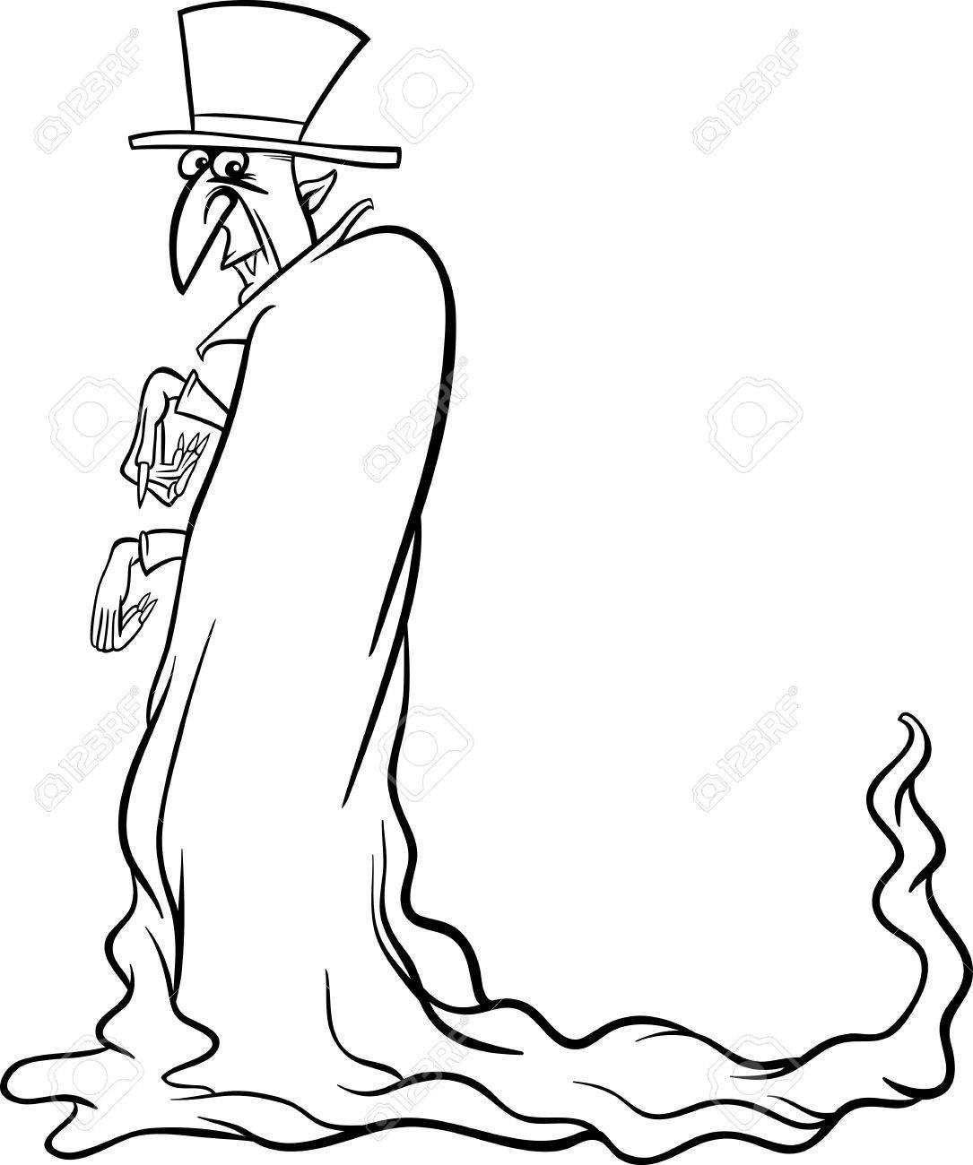 Blanco Y Negro Ilustración De La Historieta De Vampire Halloween De ...