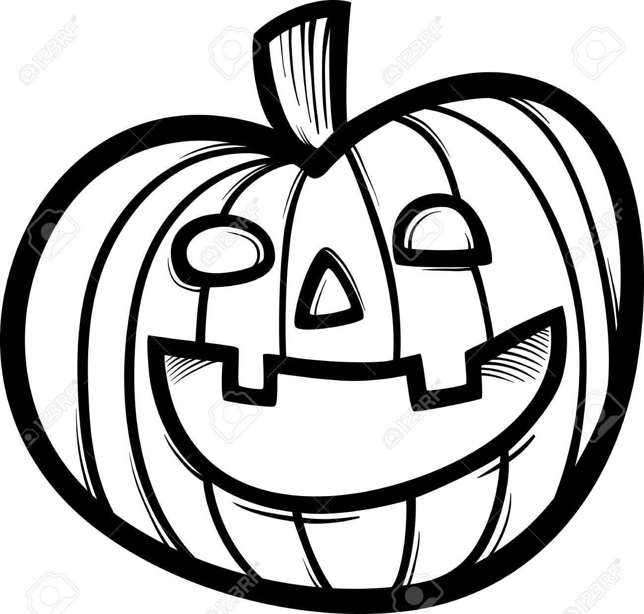 Black And White Cartoon Illustration Of Spooky Halloween Pumpkin